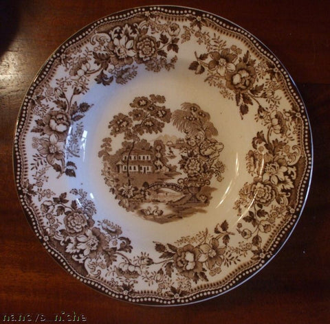 Royal Staffordshire Tonquin  Brown Transferware Salad Plate Wading Swans and Roses