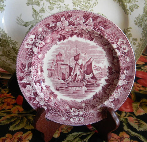 Vintage Wedgwood Ferrara English Transferware Plate Ship Scene - Nautical Decor - Beach Room Decor  Purple -ish Fuschia Plum Color