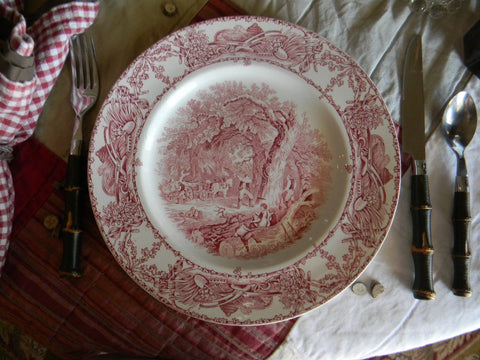 Rural Scenes Red Transferware Plate Mother Children Dog Woodcutter Farm Bee Skep