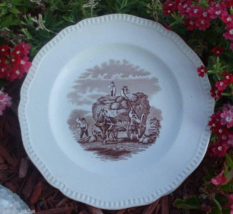 Duncan Rural Scenes Copeland Spode Brown Transferware Salad Bowl or Deep Plate Antique Spode  Gathering Hay Circa 1880