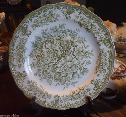 Vintage Sage Olive Green Transferware Plate Victorian Roses Daisies Shabby French Cottage