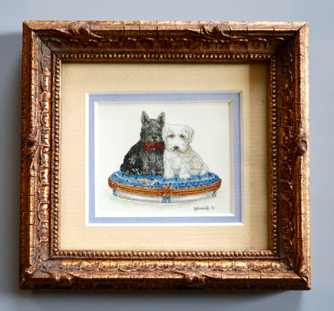 Double Matted Gold Framed Dogs on Blue & White Pillow Print