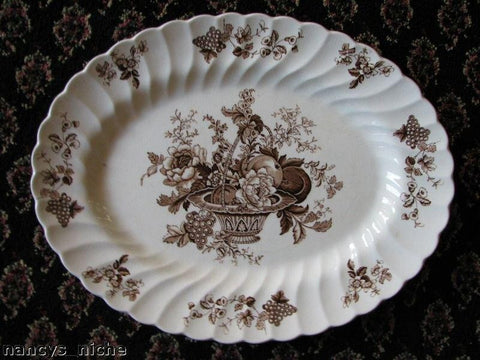 Bountiful Fruit & Flowers Vintage English Brown and White Transferware Platter Basket of Fruits and Flowers