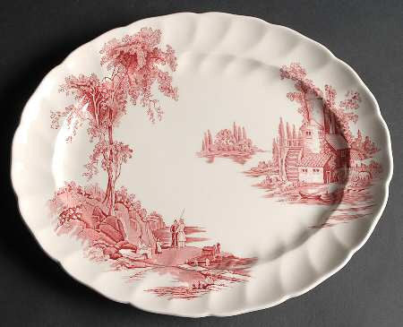 Vintage Red Transferware Platter Mill Stream Picnic English China