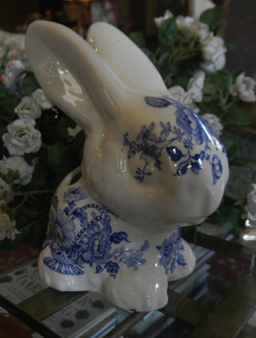 Blue Transferware Bunny Rabbit Toothbrush or Pen Holder Charlotte