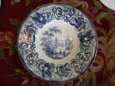 Blue Transferware Safe Harbour Soup Bowl Plate Ships in Port  & Roses Vintage Nautical Decor