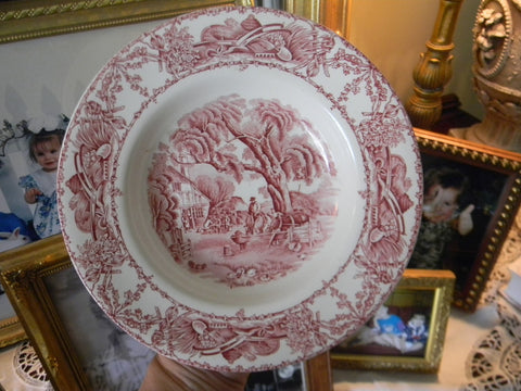 Red Pastoral Davenport Transferware Bowl Chickens Horse Farm Bee Skep Rural Scenes