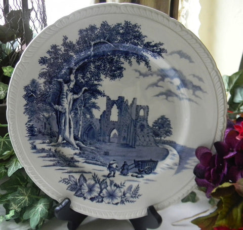 Blue English Transfer Ware Plate  Waltham Abbey Castle Ruins
