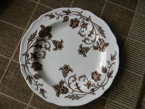 Vintage English  Salad / Cereal Bowl Brown Scrolls and Vines on White Ironstone