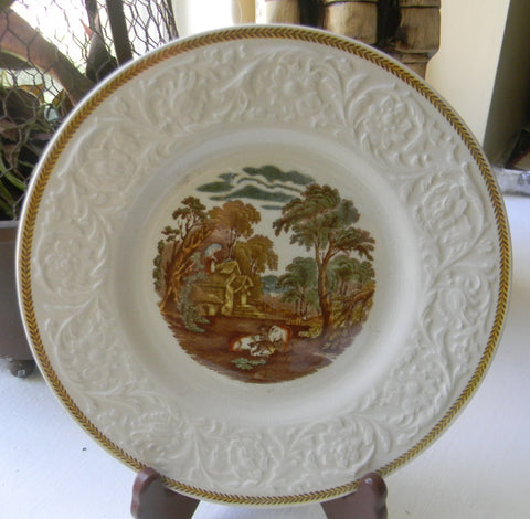 Vintage Brown Transferware Plate British Scenery Grazing Cattle Embossed Border