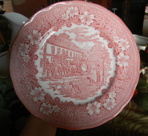 Pink Red Transferware Plate English Coaching Scenes Dogs Flowers