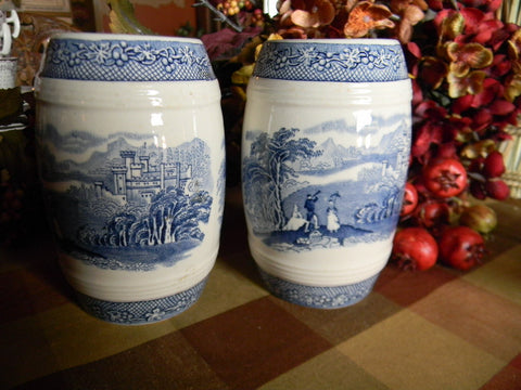 BIG Blue Transferware Salt and Pepper Shakers English Alpine Castle Scene  Jenny Lind Royal staffordshire