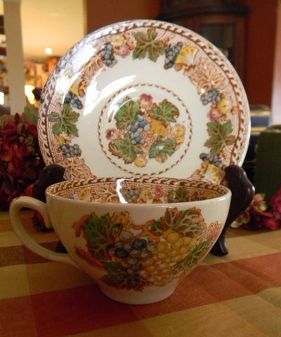 Brown Polychrome Transferware Woods Teacup Tea Cup and Saucer Flowers and Grapes SM