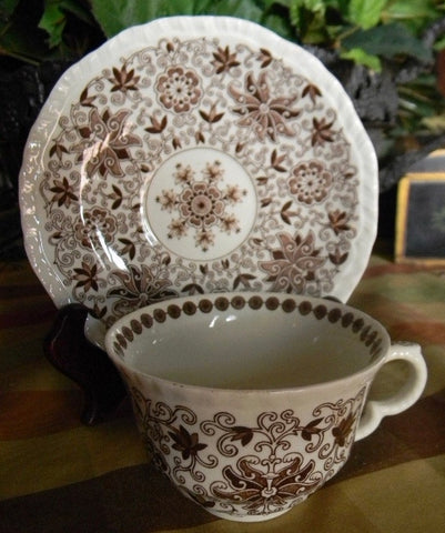 Vintage Brown Calico Transferware Masons Bow Bells Aesthetic Feel Floral Cup & Saucer