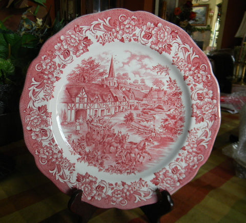 Red Pink Transferware Scenic Plate Church Children Horses Roses