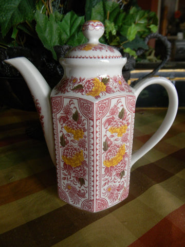 Red English Ironstone Transferware Canterbury Tea Pot Teapot Handpainted Flowers