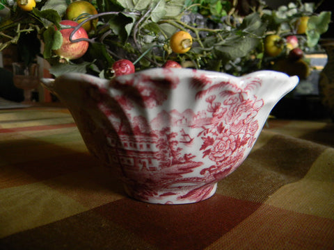 Red Transferware Open Fluted Sugar Bowl Tonquin Swans Cascading Waterfall Sailboat