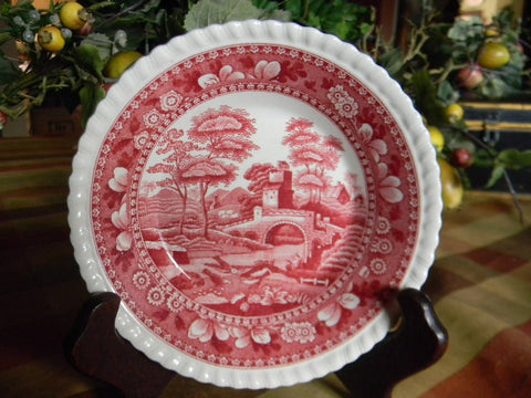Vintage Pink Red English Transferware Plate Spode Copeland Tower Bridge Birds Farmhouse Style Cottage Kitchen