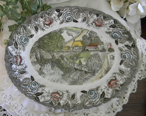 Polychrome  Brown English Transferware Platter Thatched Cottages Bridge Fishing Farming Waterfall Farm