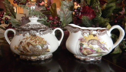 Vintage Brown Transferware Woodland Sugar & Creamer Aubergine Quail Ducks & Roses Game Series  Birds