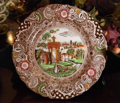 Vintage Brown English Transferware Plate Polychrome Transferware  Gazebo Strolling Couple Midwinter Geometric Border