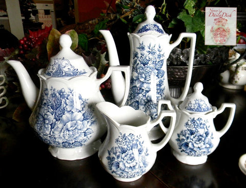 Vintage Blue & White Daisies & Roses English Transferware Cream & Sugar Set Avondale