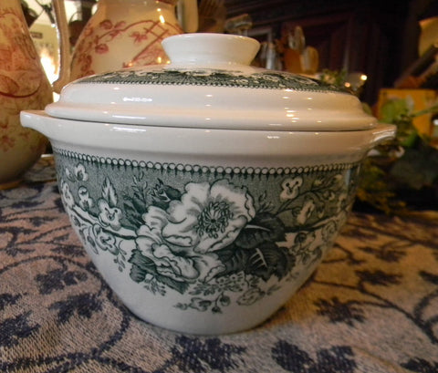 Teal Green German Transferware Tab Handled Covered Casserole Roses Flowers