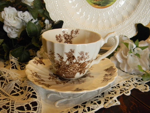 Vintage English Brown and White Transferware Cup and Saucer  Basket of Fruits and Flowers