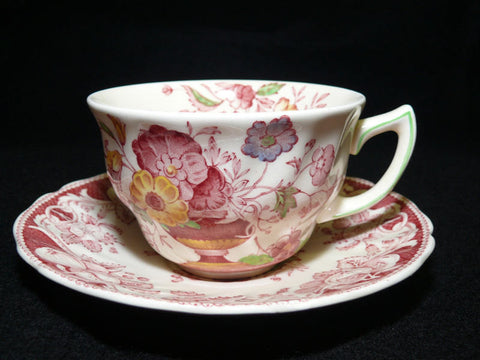 Vintage Red Transferware Polychrome Tea Cup & Saucer Royal Doulton Pomeroy Urn w/ Flowers