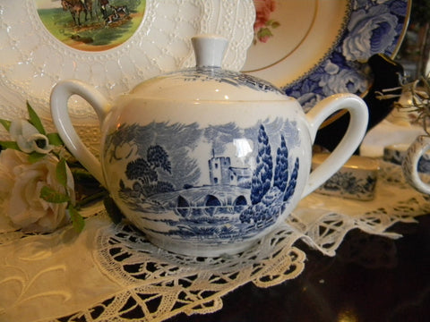Wedgwood Blue Transferware Dual Handled Sugar Bowl or Tea Caddy  English Countryside Bridge Castle