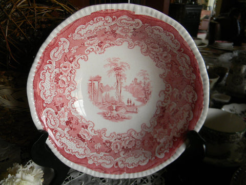 Antique Red / Pink Staffordshire Transferware Vegetable Serving Bowl
