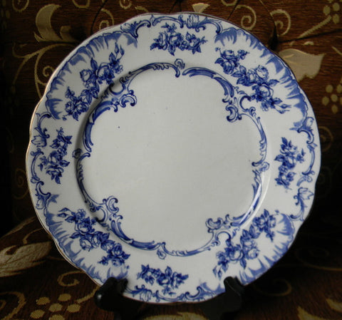 Antique English Transferware Plate Blue Ribbons Swags and Roses