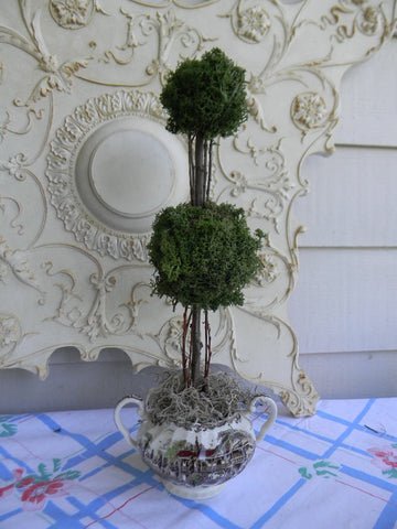 Reindeer Moss Double Ball Topiary in Vintage Brown Polychrome English Transferware Dual Handled Vase