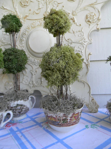 Reindeer Moss Double Ball  Topiary in Vintage Brown Polychrome English Transferware Waste / Cranberry Bowl