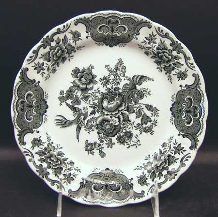 Vintage Black English Transferware Plate Roses Birds Pheasants