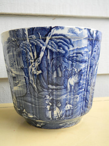 Blue Transferware Flower  Planter Cache Pot Pastoral Horse and Bridge Scene Vintage Blue and White