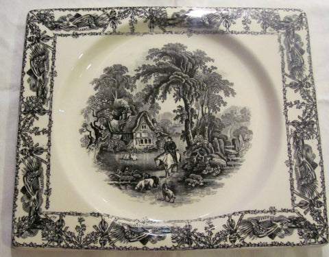 Rectangle Black Transferware Platter Tray Biarritz A J Wilkinson Farm and Horse Scene
