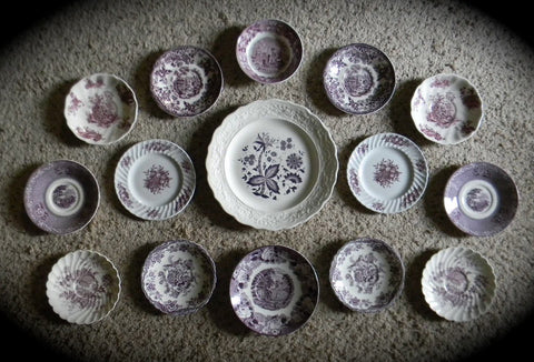 Large Set of 15 Mix n Match Vintage English Purple Transferware Plates & Bowl - Instant Wall Display Collection