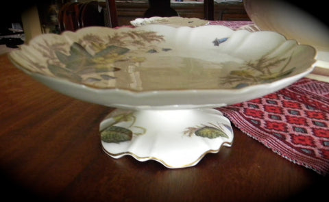 Circa 1887 Antique  English Brown Transferware Aesthetic Movement Floral Tazza Footed Compote George Jones Primroses
