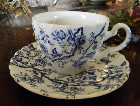 Vintage Johnson Bros English Blue and White Transferware Cup and Saucer Vines and Floral Chintz Sheet Pattern
