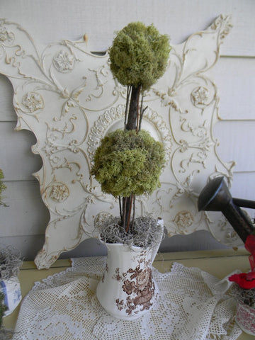 Reindeer Moss Double Ball Topiary in Vintage Brown English Transferware Pitcher Hand Made