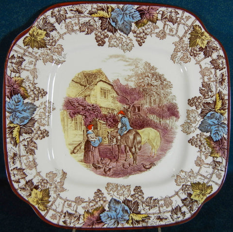 Spode Copeland Brown Transferware Square Plate Farm Dog Chickens Vintage English c 1927-37