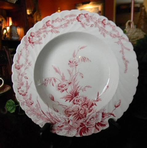 Clarice Cliff Toile Red Transferware Shallow Soup Salad Bowl  Harvest Poppies