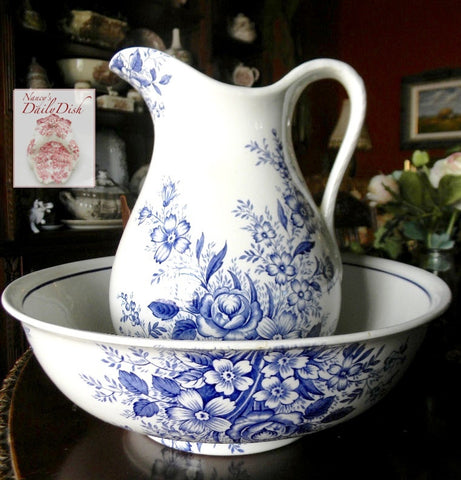 Vintage Blue English Transferware Huge Wash Basin & Pitcher Flowers Roses