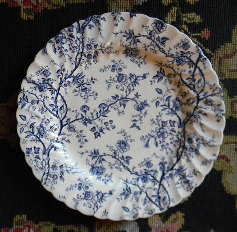 Blue Chintz Vines and Roses Flowers English Transferware Plate