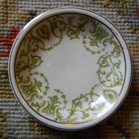 Antique Sage / Olive Green Transferware Butter Pat or Salt Dip Victorian Scrolls Meakin