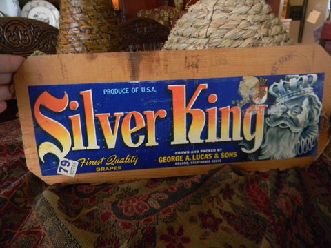 Vintage Wood Crate End Sign with Original Fruit Label Silver King Grapes Great Decorator Piece - Kitchen Decor