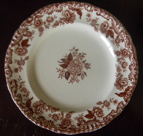 Vintage Spode Marina Brown Transferware Plate Cabbage Roses 5.5