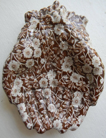Brown Transferware Calico Open Hands Dish Tray Staffordshire - Hand Shaped Trinket Dish - Vintage Chintz