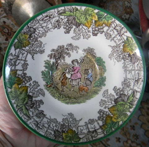 Spode Byron Brown Transferware Plate Mother Giving Boy a Drink Dog Green Trim